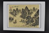 (乙5028)日本购回 纸本手绘《中国山水画》1幅 奇山秀水 丁亥年 高飞 钤印 设色 画心尺寸为27.4*20.3cm