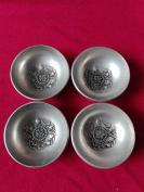小银茶杯一套4个,茶碗,福禄寿喜银碗一套,镀银碗福禄寿喜