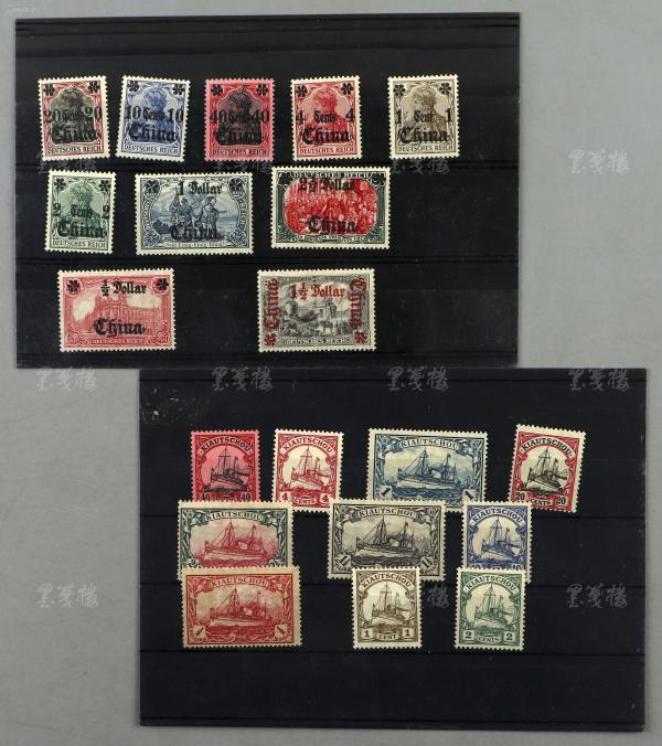 清末 德国在华客邮 两套 各十枚(胶州湾有水印)HXTX303634