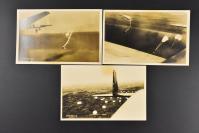 (乙5269)《日本伞兵》老照片3张 银盐老照片 日军运输机 伞兵跳伞 伞兵队等内容 日本海军省许可济第三三号