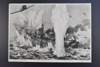 (乙5431)二战史料《英国主力舰プリンス·オブ·ウエールズ号最后の刹那》黑白1张 单面 二战中英国皇家海军的战列舰主要兵力之一:英国威尔士亲王号战列舰,1941年12月10日,在印度洋被日空军击沉。松添健画 东京日日新闻社 大坂每日新闻社