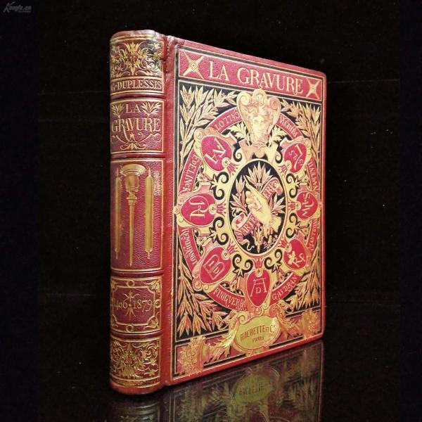 """1880年,73幅版画插图(其中全页钢版画37张),""""格罗里埃''法式装帧,巴黎出版《Histoire de La Gravure 雕刻史1406~1879》1册全,27.5*20.5*4cm,皮脊,髹柒封面,水波纹缎面环衬(图3),三口刷金 !"""