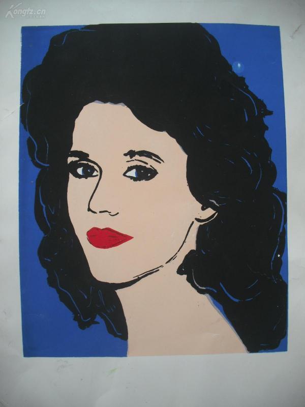 套色丝网版画   《外国美女》      尺寸:54X38.5厘米