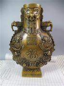 乾隆款纯铜双儿福寿花瓶摆件 工艺精湛 古色古香  重3公斤