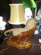 70—80年代淄博瓷塑窑变狮子台灯