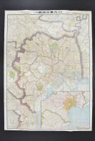 (乙6017)日本《最新式大东京地图》彩色双面1张全 东京日日新闻满五十年记念 番入地 1922年 关东大地震前东京地图 东京市及其附近地图 明治神宫地图 东京湾 宫城 尺寸108.8*78.5cm