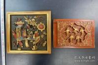 两块 戏曲人物 木雕