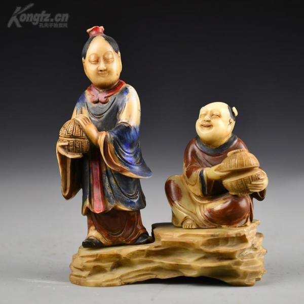 清 寿山石彩绘母子图摆件