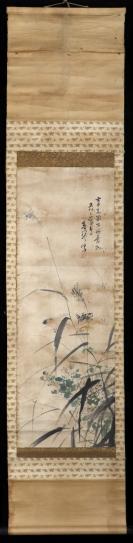 【日本回流】原装旧裱 春琴 水墨花鸟画 一幅(纸本立轴,画心约2.6平尺,钤印:东涯)HXTX305613