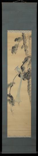 【日本回流】原装旧裱 友信 水墨鸟禽图 一幅(纸本立轴,画心约3.5平尺,钤印:友信)HXTX305614