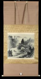 【日本回流】原装旧裱 春光 水墨山水画 一幅(绢本立轴,画心约1.9平尺)HXTX305611