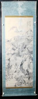 【日本回流】原装旧裱 相秋果 水墨山水作品一幅(纸本立轴,画心约6平尺,钤印:相秋果 等)HXTX305677