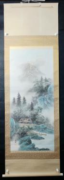 【日本回流】原装旧裱  行雅 水墨山水作品一幅(绢本立轴,画心约5平尺,钤印:行雅)HXTX305670