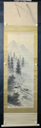【日本回流】原装旧裱 湖峰 水墨山水作品一幅(绢本立轴,画心约3.7平尺 钤印:湖峰)HXTX305673