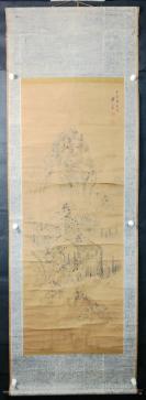 【日本回流】原装旧裱 云泉 水墨山水作品一幅(纸本立轴,画心约6平尺)HXTX305678