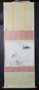 【日本回流】原装旧裱   水墨山水作品《东山日明》一幅(纸本立轴,画心约1.1平尺)HXTX305662