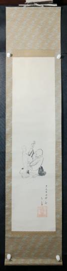 【日本回流】原装旧裱  佚名 水墨人物作品一幅(纸本立轴,画心约3平尺)HXTX305665