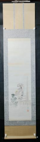 【日本回流】原装旧裱  秀斋 水墨人物作品一幅(纸本立轴,画心约3.2平尺,钤印:秀斋)HXTX305664
