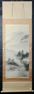 【日本回流】原装旧裱  光风 水墨山水作品一幅(绢本立轴,画心约4.6平尺)HXTX305669