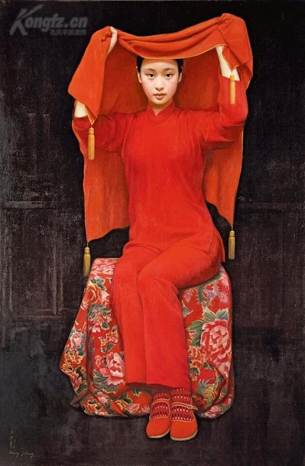 当代油画家王沂东-新娘 29x44公分仿绢油画水彩国画人物画装饰画芯高仿画水墨画