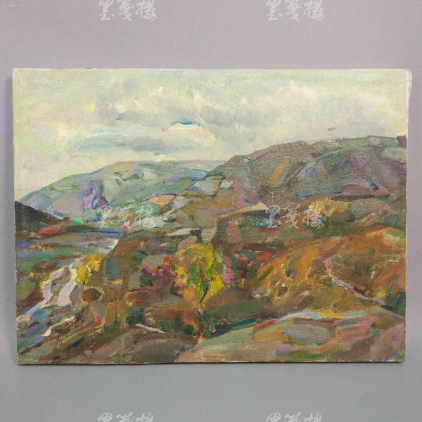 著名油画家、航天英雄奖章设计者 孔平油画作品《山丘秋色》 一幅带框(尺寸31*41cm,未署款)HXTX312688