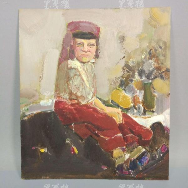 著名油画家、航天英雄奖章设计者 孔平油画作品《维族少女》一幅(尺寸35*30.5cm,未署款)HXTX312689
