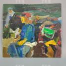 """著名油画家、航天英雄奖章设计者 孔平2003年人物油画作品 两面两幅(尺寸23*25cm,落款""""KP"""")HXTX312698"""