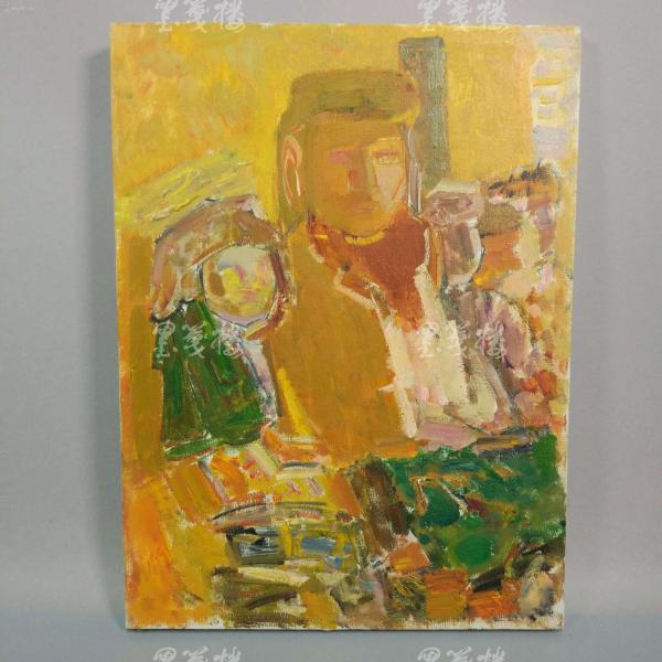 著名油画家、航天英雄奖章设计者 孔平人物油画作品  一幅带框(尺寸40*30cm,未署款)HXTX312687