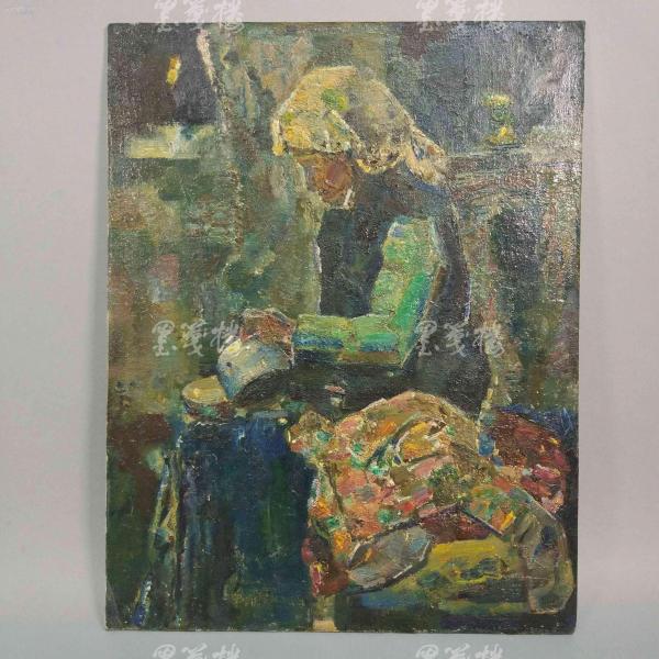 著名油画家、航天英雄奖章设计者 孔平油画作品《慈母》 一幅(尺寸39.5*30.5cm,未署款)HXTX312690