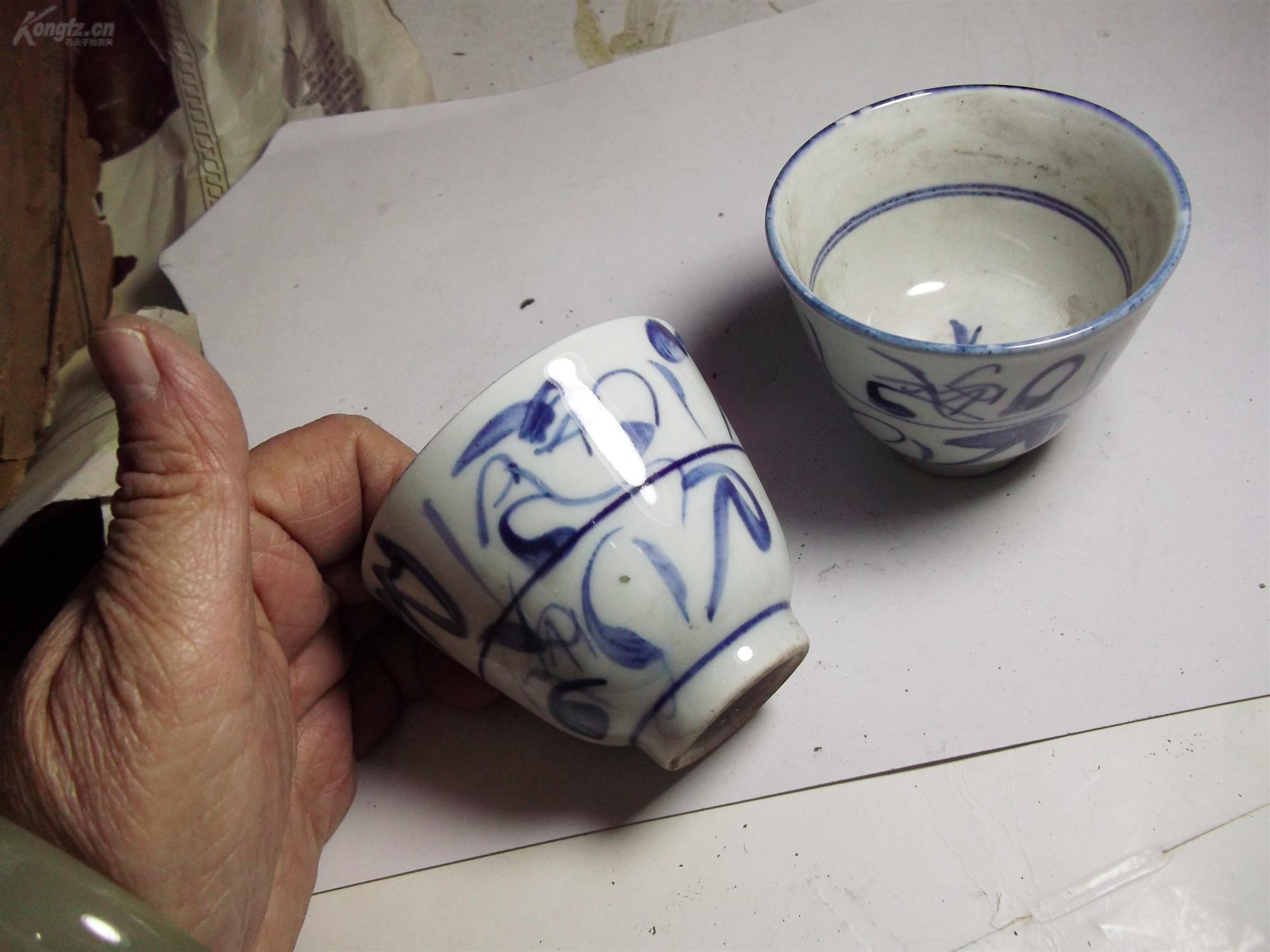 景德古窑款青花茶盅一枚