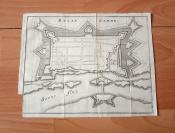 1650年铜版雕刻地图《索恩河畔小镇奇塔德拉,上索恩省,法国》(belle garde)-- 十七世纪欧洲最伟大的铜版画雕版师马特乌斯·梅里安系列作品 -- 纸张尺寸20.3*16厘米