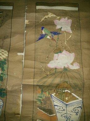 清代老木板年画对联,尺寸106*29cm