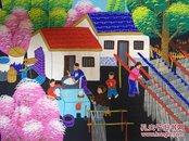 户县农民画代表人物,享誉世界女画家潘晓玲画,小康之家一幅精装裱
