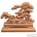 太行崖柏实木雕刻竹报平安摆件太行风化料手工雕刻