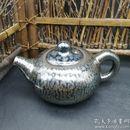 建盏盏壶,铁胎建阳窑原矿釉天目【百花壶】又称菊花壶,茶壶,天目水壶。带落款,带证书。