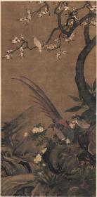清 尤萃 花鸟珍禽图杏花双雉图 高清图 复制品 可装裱 8074