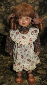 博物馆级西洋玩偶—真人头发意大利ANRI手工木雕雀斑娃娃Sarah Kay(竹日忠芳旧藏)