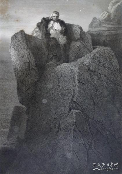 1860年  钢版画 雕刻凹版《圣赫勒拿岛的岩石,THE ROCK AT ST. HELENA》-源自 法国画家 保罗·德拉罗什( Paul Delaroche)作品