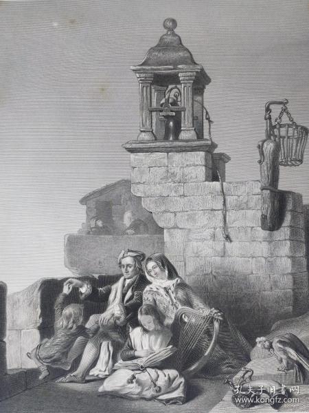 1860年 钢版画 雕刻凹版《和睦家庭,PEACE》-源自 苏格兰画家  詹姆斯·德拉蒙德(JAMES DRUMMOND R.S.A)作品