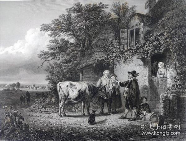 1860年  钢版画 雕刻凹版《奶牛医生,THE COW-DOCTOR》-出自 比利时画家 查尔斯-皮洛涅(Charles-PhilogèneTschaggeny)作品
