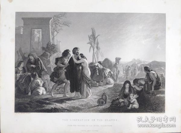 1860年 钢版画 雕刻凹版《奴隶的解放,THE LIBERATION OF THE SLAVES》-源自  英国画家 亨利·勒·约恩(Henry le Jeune)作品