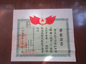 1954年 毕业证书 贴有照片[中国人民解放军西北军区第一军医中学】40 × 35cm