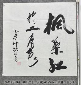 B6728号书法 枫叶红于二月花 68×68cm 作者:王永久 辽宁省首届老年书法展