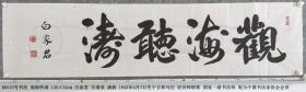 B6510号书法 观海听涛 135×34cm 白家君 字清泉 满族 1943年4月7日生于吉林乌拉 经济师职称 国家一级书法师 现为中国书法家协会会员 中国书画名家协会理事 国际书画院副院长、客座教授 北京尔康书画院院士 长沙义工国际艺术中心艺术顾问等
