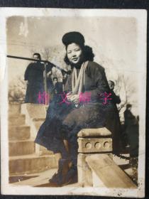民国老照片 上海外滩 美女 7张 合售