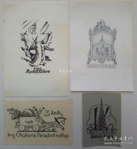 欧洲木版画线刻版藏书票4张合售43组