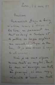 法国著名作家左拉钢笔信札1892年3月23日保真名家手迹