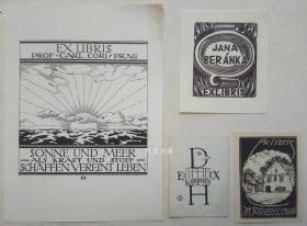 欧洲木版画线刻版藏书票4张合售44组
