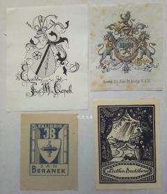 欧洲木版画铜版画线刻版藏书票4张合售46组