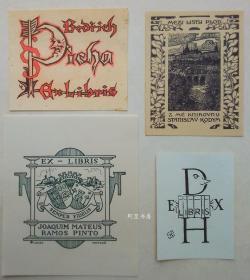 欧洲石版画线刻版藏书票4张合售42组